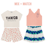 Bobo choses cream and red dot jersey girls shorts