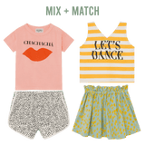 Bobo choses yellow stripe let's dance girls tank top