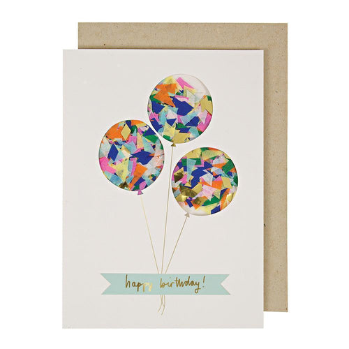 Kids Birthday Card Confetti Balloons By Meri Meri