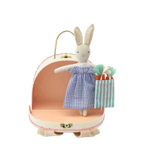 Small bunny  doll in a mini toy suitcase.