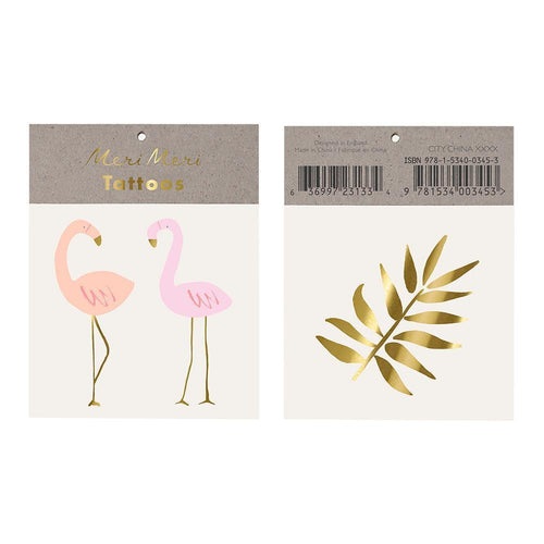two flamingo temp tattoos and gold palm temp tattoo