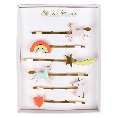 Meri Meri multicolored unicorns, rainbow, heart and shooting star hair slides for girls