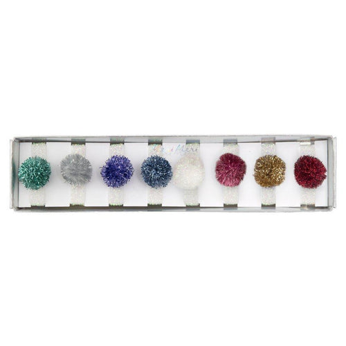 Meri Meri Holiday Tinsel Pompom Girls Hair Ties - Set of 8