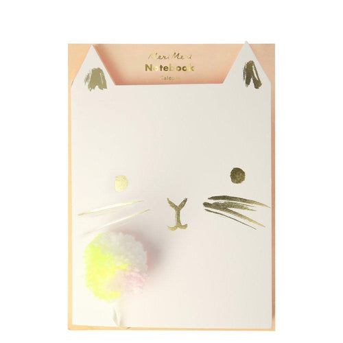 Kids Notebook Cat Shape with Pom Pom Book Mark by Meri Meri