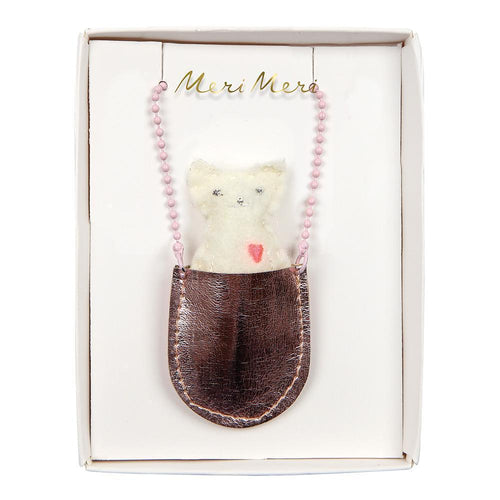 Meri Meri pink metallic girls pouch necklace with felt cat
