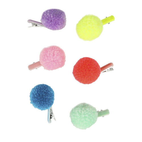Girls Pompom Hair Clips by Meri Meri out of packaging