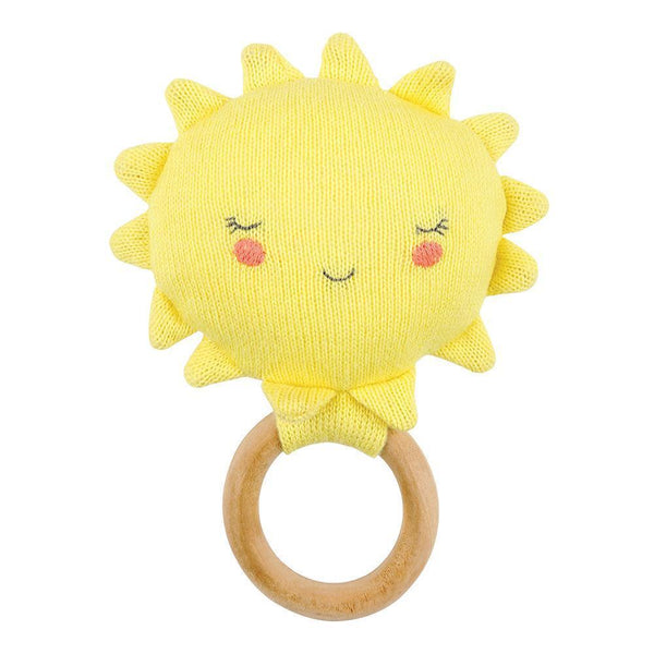 knitted yellow sun baby rattle