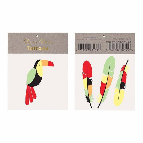 Toucan and three feathers temporary tattoos
