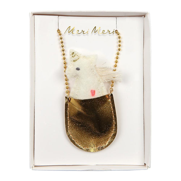 Meri Meri unicorn pouch necklace for girls with unicorn inside