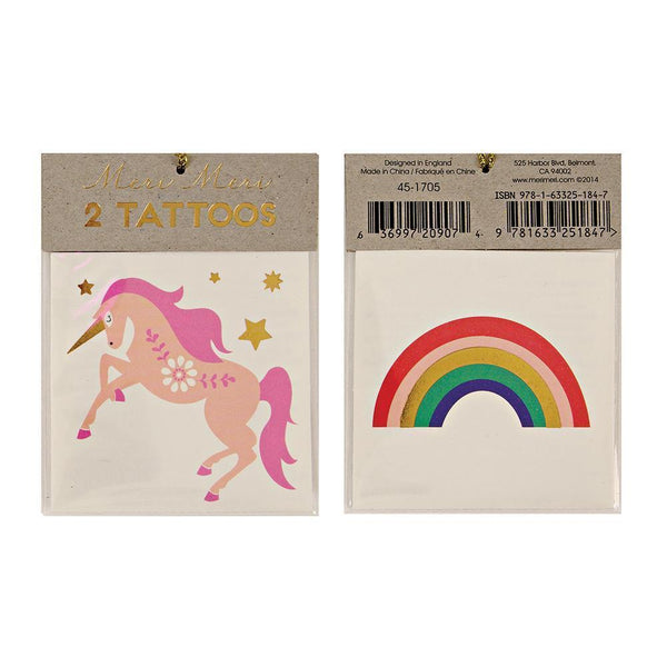 Pink unicorn and rainbow temp tattoo set