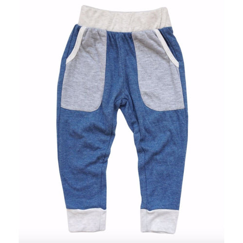 Miki Miette blue boys jogger sweatpants with large pockets