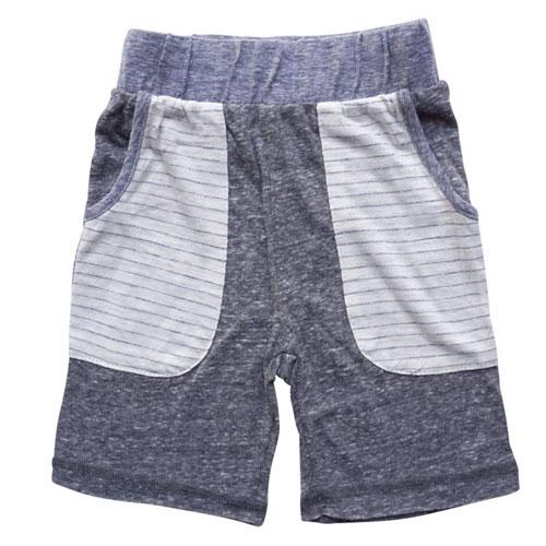 Grey and blue jersey boy shorts with large striped pockets