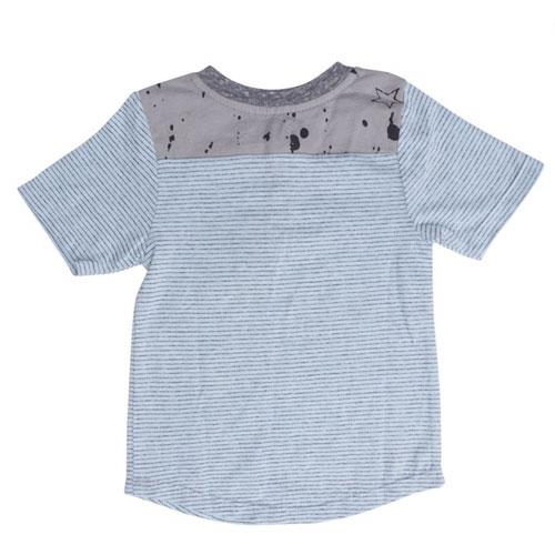 Back of light blue stripe boys short sleeve tee with grey star trim