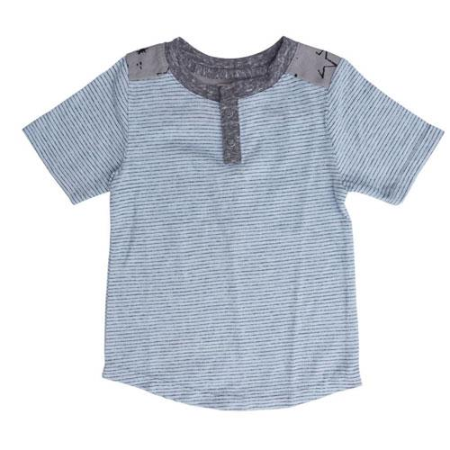 Light blue striped jersey short sleeve t shirt for boys with grey trim