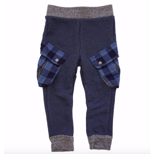 Miki Miette navy blue boys jogger pants with plaid cargo pockets