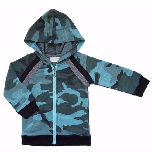 Miki Miette camouflage print zip front boys hoodie