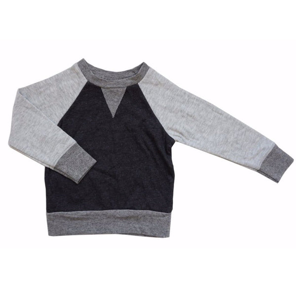Miki Miette grey and black raglan boys sweatshirt