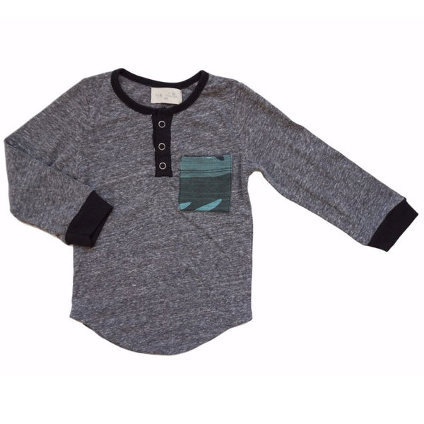 Miki miette grey long sleeve henley boys tee with camo pocket