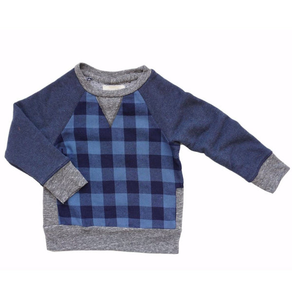 Miki Miette blue plaid pullover boys sweatshirt