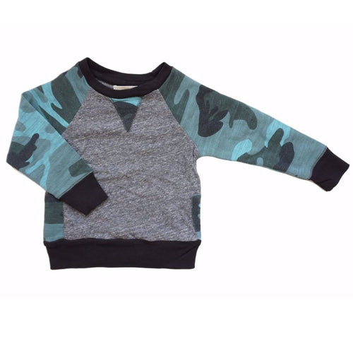Miki Miette pullover boys sweatshirt with camouflage sleeves