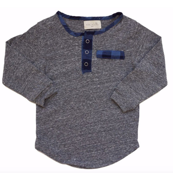 Miki Miette grey long sleeve henley boys tee