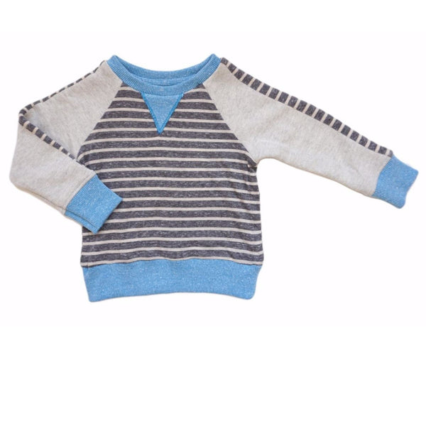 Miki Miette stripe with blue accent pullover boys sweatshirt