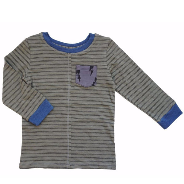 Miki Miette stripe long sleeve boys t-shirt with blue trim