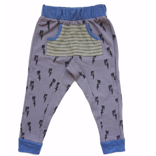Miki Miette grey lightning print jogger boys pants