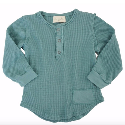 Miki Miette blue long sleeve henley boys tee