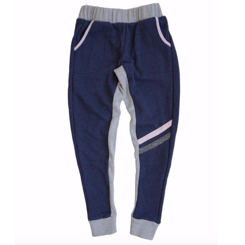 Miki miette navy blue girls jogger sweatpants with grey waistband