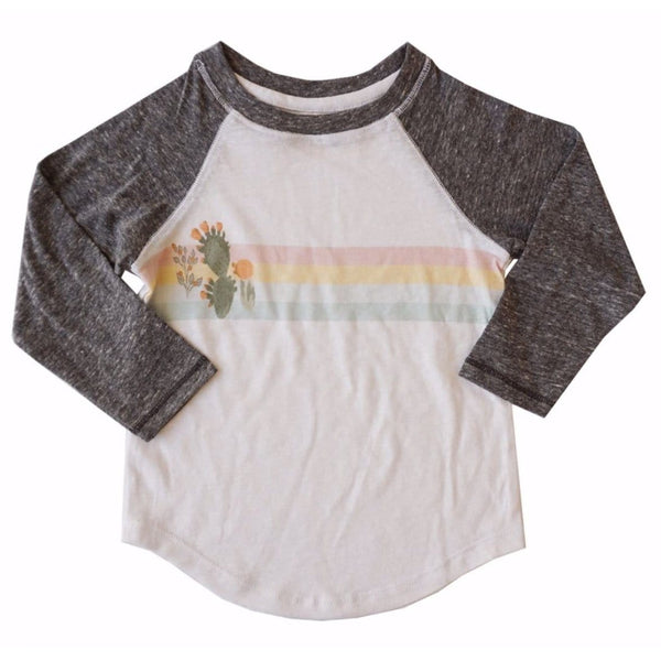 Miki Miette long sleeve raglan cactus graphic girls tee