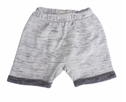 Baby boy knit grey shorts with white marle