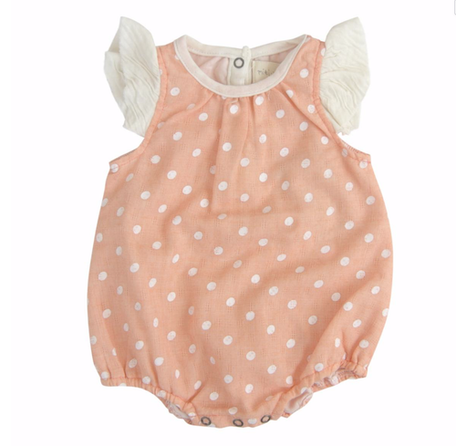 coral with cream dots and cream arm ruffles bubble romper