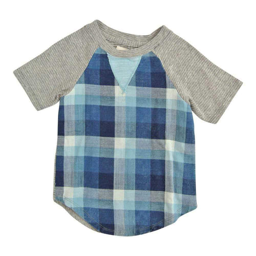 Blue plaid tee with grey short sleeves