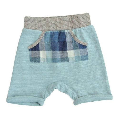 Light blue boys shorts with blue plaid front pocket