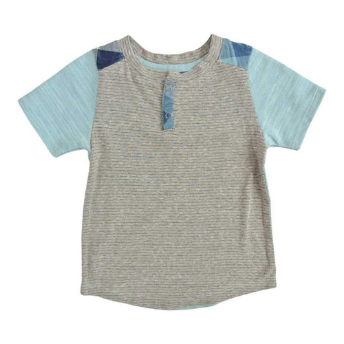 Grey front boys tee with light blue short sleeves | Cool Boys Clothing
