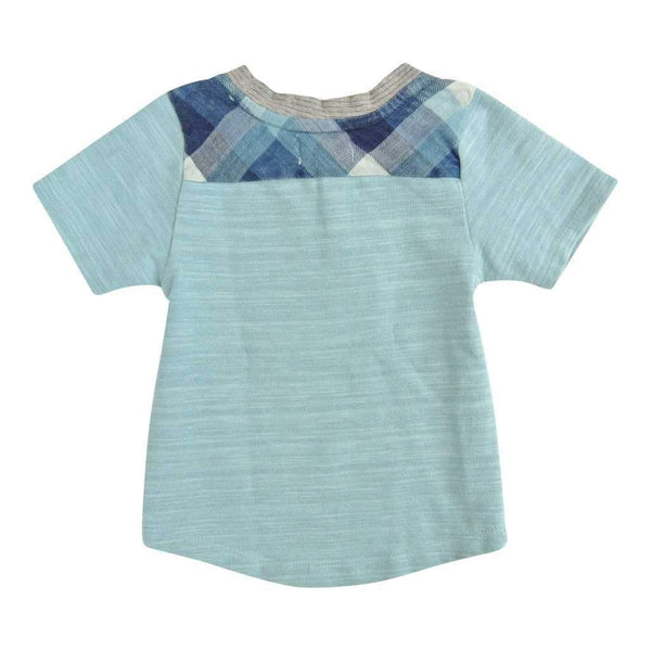light blue back tee with blue plaid on shoulders | Boys Trendy Clothing