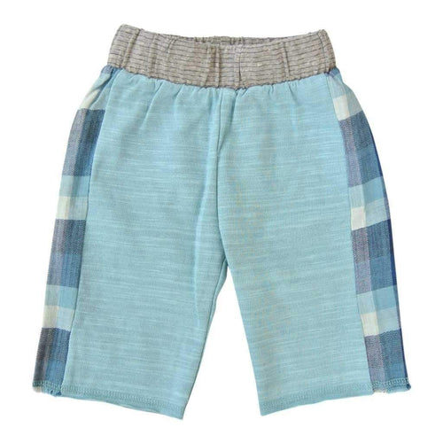 light blue shorts with blue plaid panels on sides