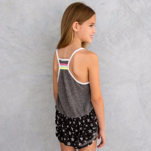racerback tank in grey with black and stars fabric detail