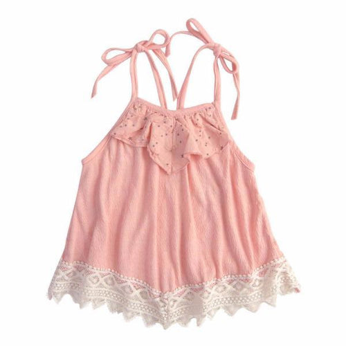 Pink spaghetti strapped swing tank for girls with lace trim