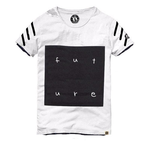 Black and white boys short sleeve tee shirt with FUTURE graphic