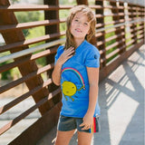 Model with girls rainbow stripe shorts and jumprope tee