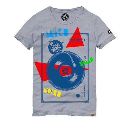 Grey short sleeve boys tee with record graphic