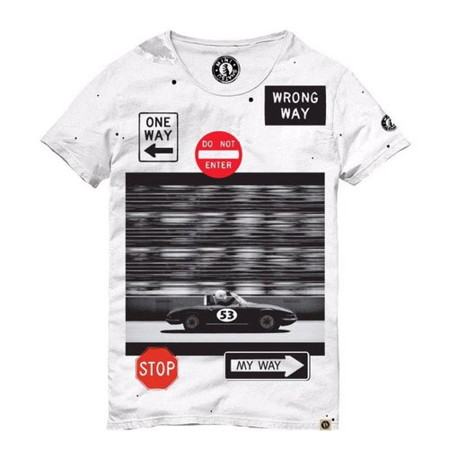 Black and white boys short sleeve tee with car graphic