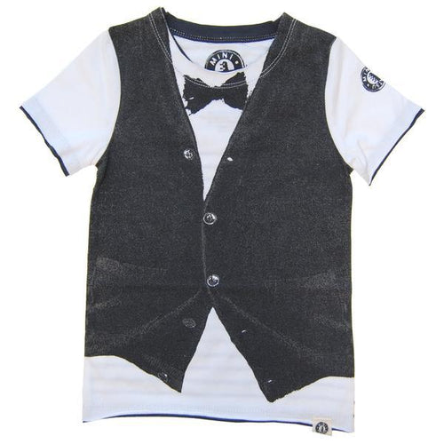 boys tee with faux vest and bow tie tee