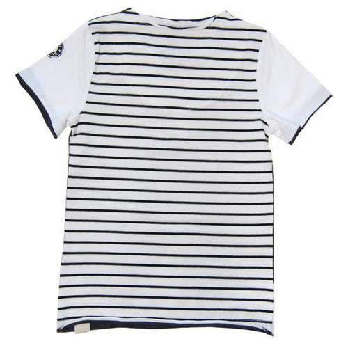 back of tee with black and white stripes