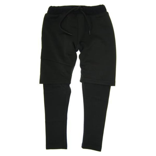 Mini Shatsu boys black shorts over black sweat pants