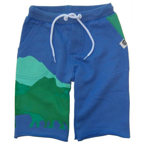 Blue sweat shorts with green mountains on right leg