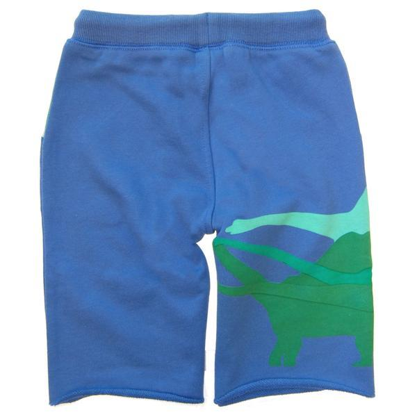 Back of blue boys shorts with green dinosaur tails