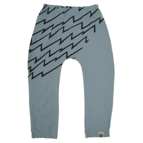 Light blue baby pants with black lightning print